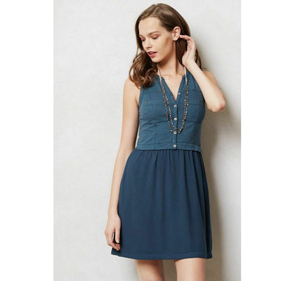 Saturday Sunday Anthropologie Highway Day Mini Dress Blue Sexy S