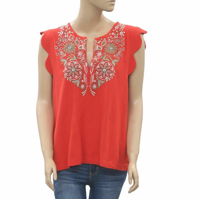 Akemi + Kin Anthropologie Binah Scalloped Shell Red Top L