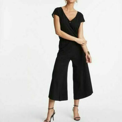 Odd Molly Anthropologie Passion Flare Lace Jumpsuit Wide Leg Black L