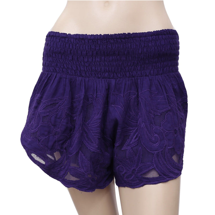 Free People Floral Patchwork Mesh  Shorts S