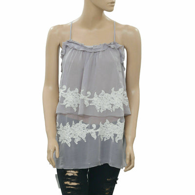 Tintoretto Floral Ruffle Gray Blouse Top Sheer Peasant S