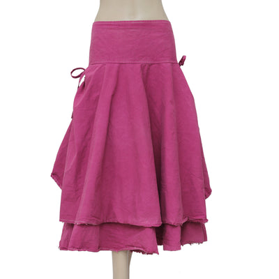 Ewa I Walla Lagenlook Vintage Tiered Draw String Pink Skirt XXL