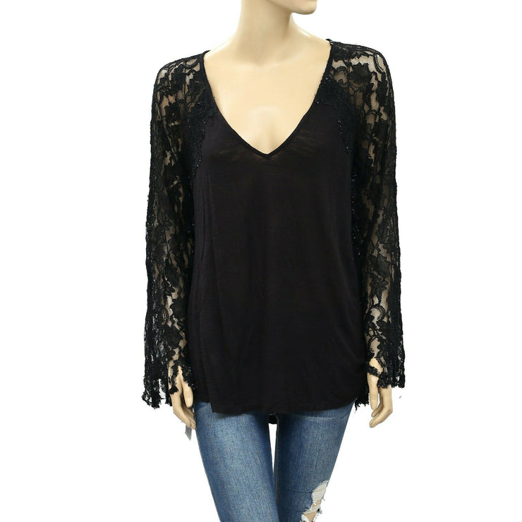 Ecote Urban Outfitters Lace Tunic Top Black M