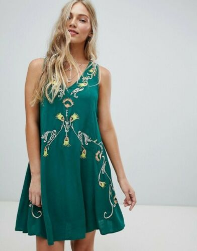 Free People Adelaide Festival Slip Embroidered Laceup Tunic Dress XS