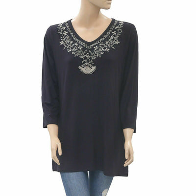 Caite Anthropologie Floral Embroidered Tunic Top Black  M