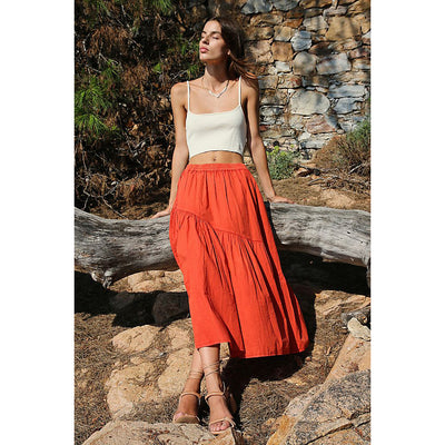 Free People All About Tiers Midi Skirt