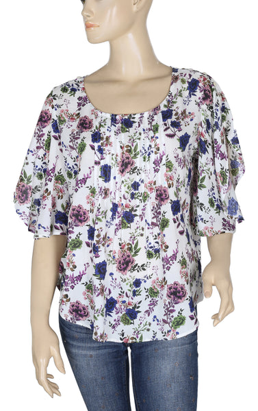 Maeve Printed Cotton Top L