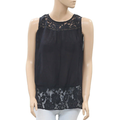 Drolatic Anthropologie Floral Lace Black Tunic Top Sheer S