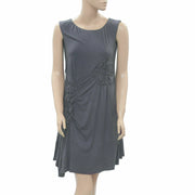 Caite Anthropologie Ruched Mini Tunic Dress Asymmetrical Gray Evening XS