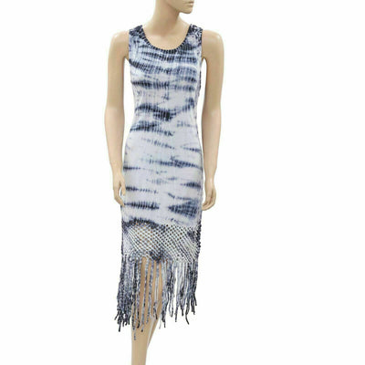 Superdry Tie & Die Printed Crochet Fringes Midi Dress XS