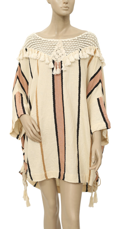Free People Striped Printed Crochet Dress XL