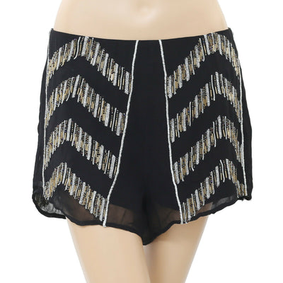 Free People Embroidered Embellished Shimmer Black Shorts High Waisted M