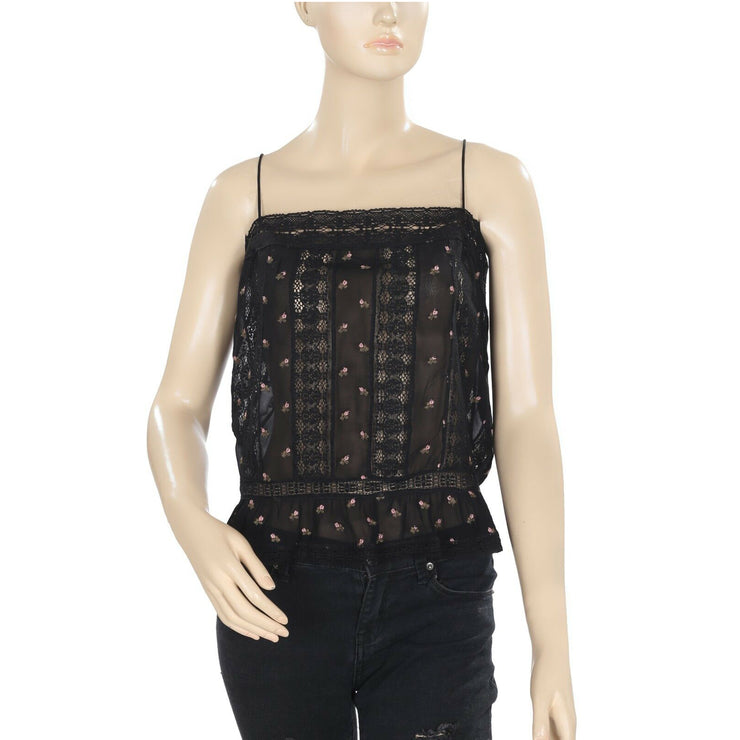 Free People Floral Printed Lace Ruffle Sheer Black Blouse Crop Top L