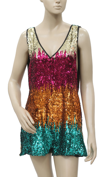 Free People Sequin Embellished Romper S