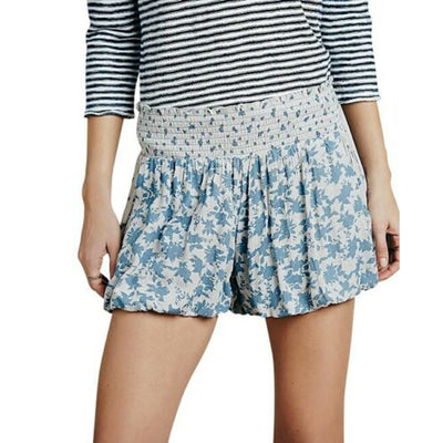 Free People Gray Smocked Printed Silver Shorts S
