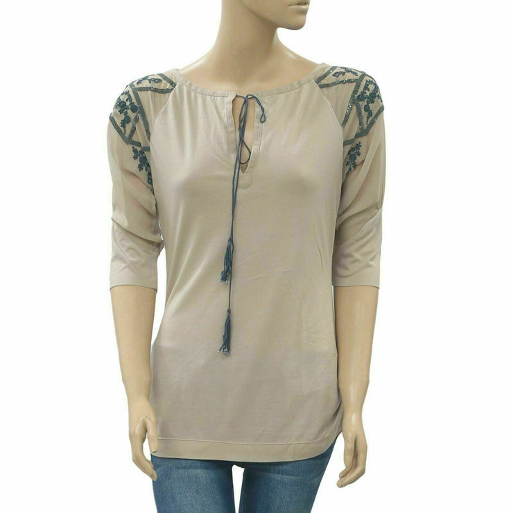 Saivana Anthropologie Sequin Embellished Taupe Tunic Top Embroidered S