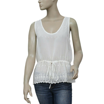 French Connection Eyelet Embroidered Blouse Tank Top White Sheer M