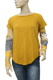 Free People Floral Embroidered Mustard Top S
