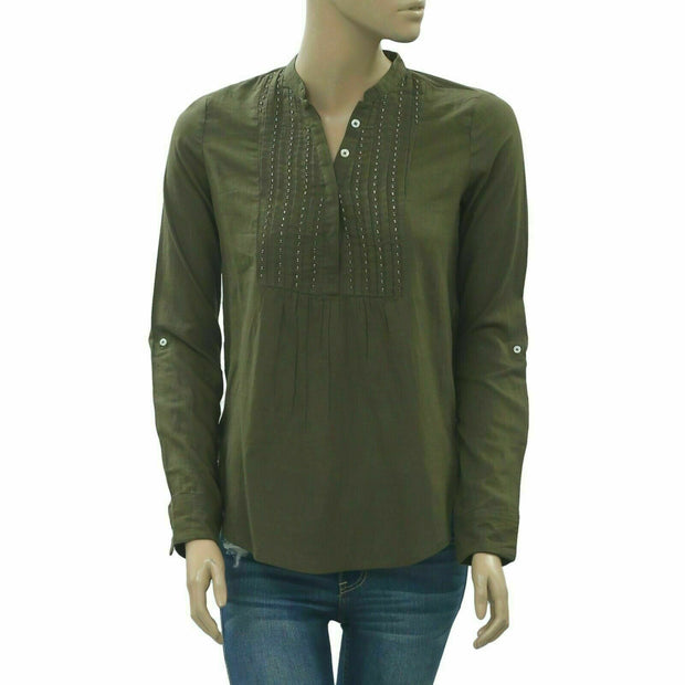 Abercrombie & Fitch Beaded Embellished Shirt Blouse Top XS