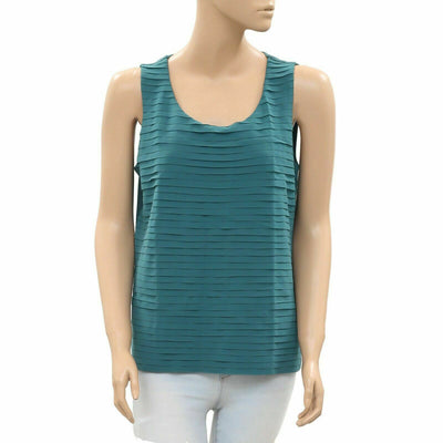 Chico's Tiered Green Tank Blouse Top Holiday Summer Cotton  M