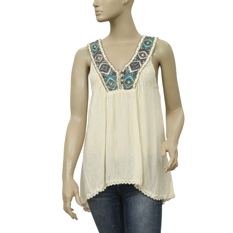 Free People Beaded Embellished Embroidered Lace Tunic Top Ivory S