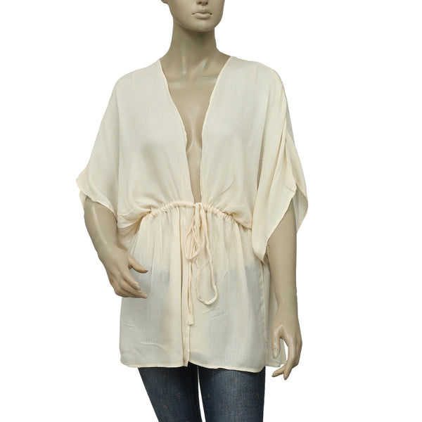 Free People Kimono Beige Open Front Coverup Top M