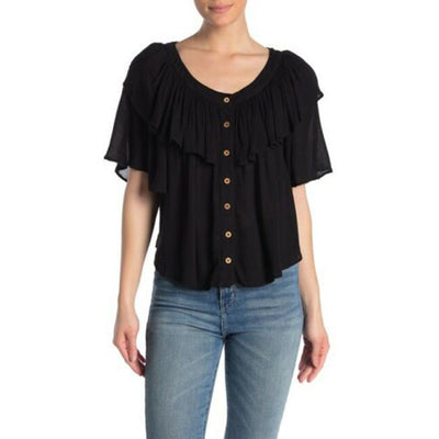 Free People Marcella Buttondown Ruffled Blouse Top S