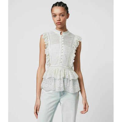 All Saints Lola Embroidered Blouse Top Tiered Eyelet White Ruffle S