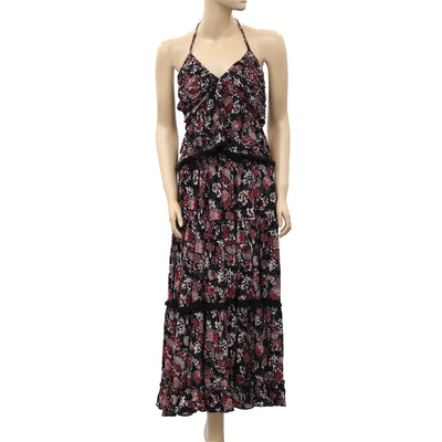 Free People Kahlo Printed Halter Top & Maxi Skirt Set S