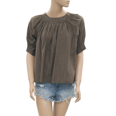 Ulla Johnson Shimmer Striped Printed Cutout Brown Blouse Top Small S