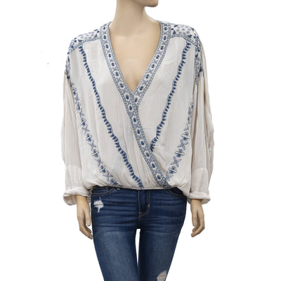 Free People Crescent Moon Embroidered Blouse Top S