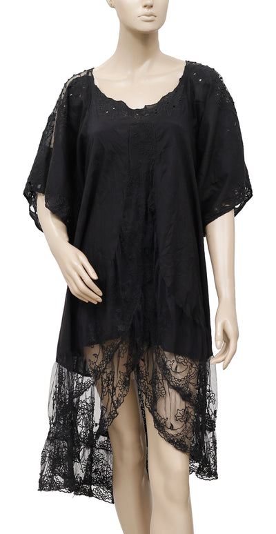 Free People Eyelet Embroidered Black Dress S