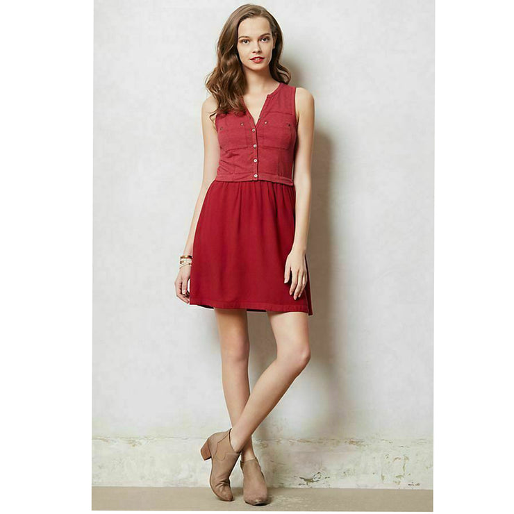 Saturday Sunday Anthropologie Highway Day Rouge Mini Dress S