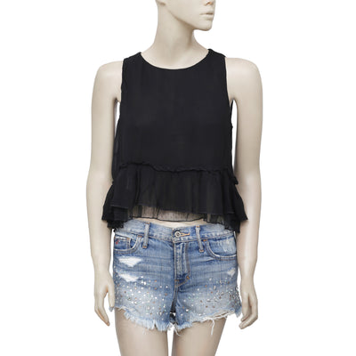 Zara Trafaluc Round Neck Sleeveless High Low Black Blouse Top Small S