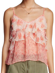 Free People All Things Printed Ruffle Strep Tank Top