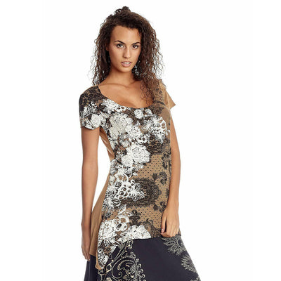 Desigual Rubber Printed Tunic Top Asymmetrical Holiday XS