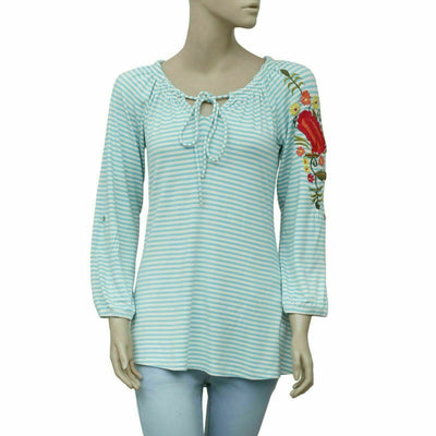 Caite Anthropologie Striped Floral Embroidered Tunic Top S