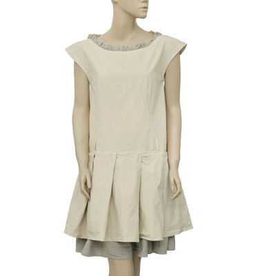 Ewa I Walla Peasant Lagenlook Vintage Pleated Ruffle Off White Dress S