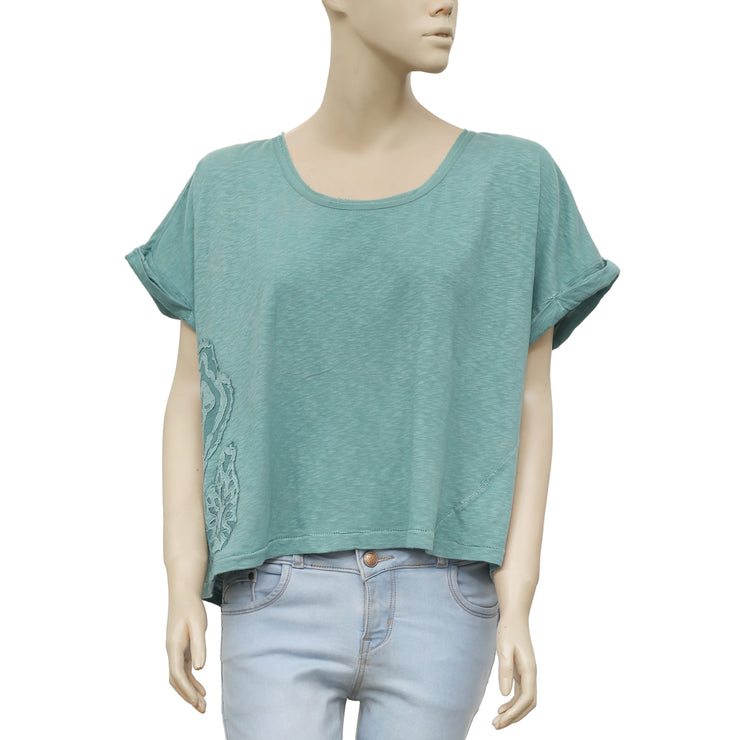 Ecote Patchwork Oversized Green Blouse Top M