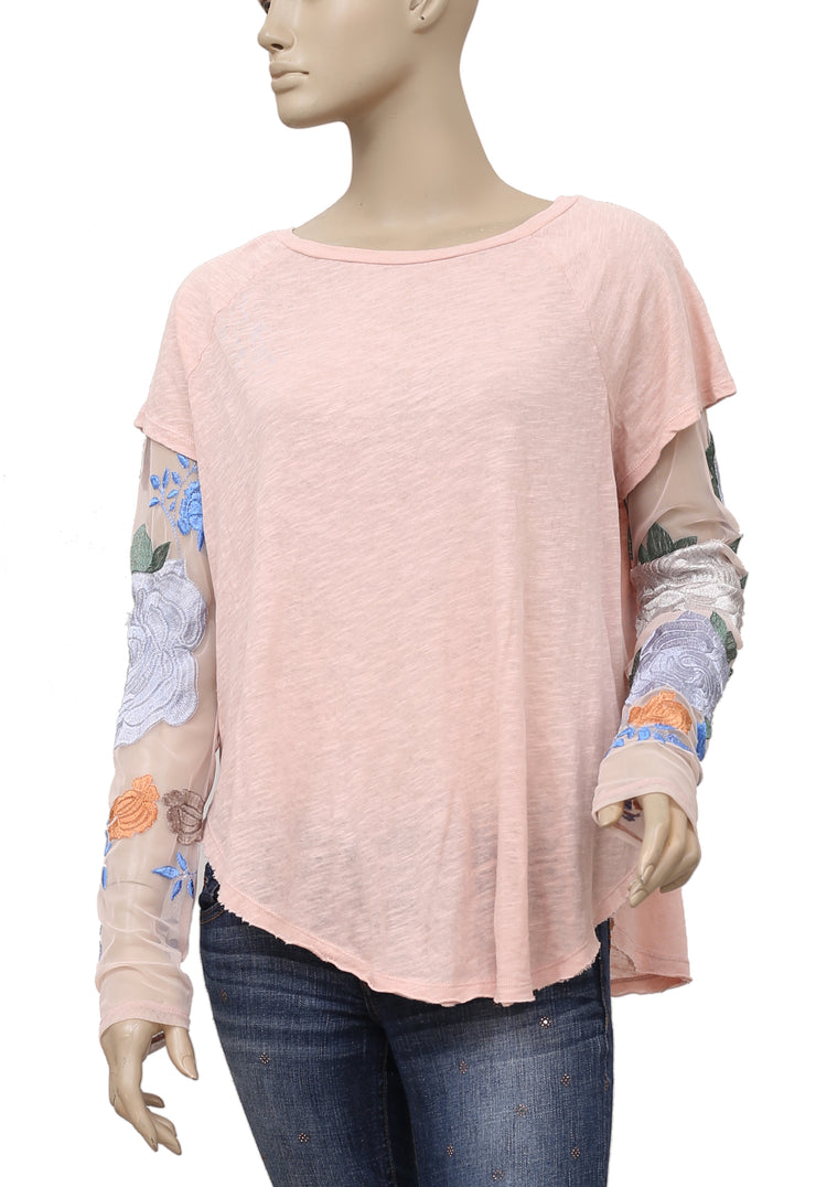 Free People Floral Embroidered Pink Top M