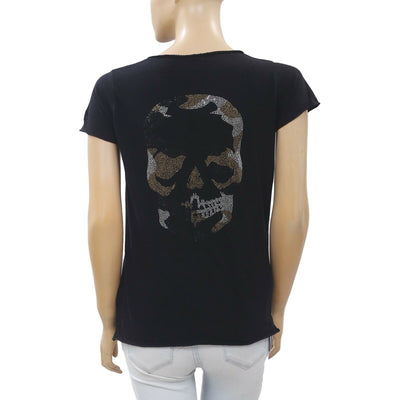 Zadig & Voltaire Skull Tunisien MC Beaded T-Shirt Blouse Top Black M