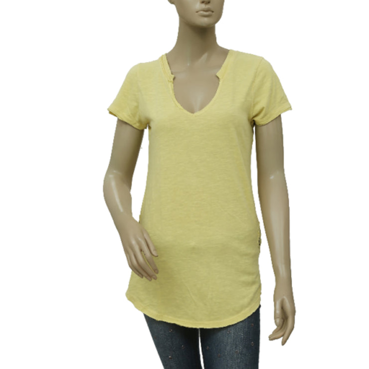 Free People Battenburg Lace Trim Tee Yellow Top S