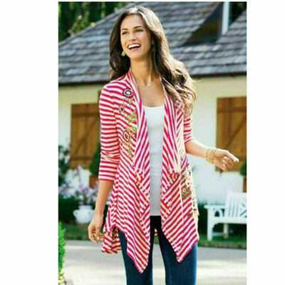 Soft Surroundings Floral Embroidered Coverup Top Striped Cardigan SP