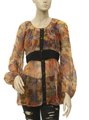 Free People Printed Buttondown Tunic Top S