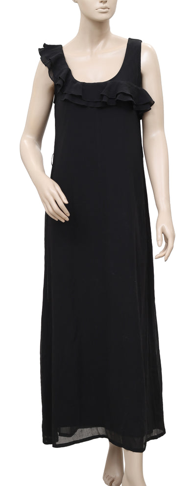 White Chocolate Ruffle Sleeveless Black Cocktail Party Maxi Dress S