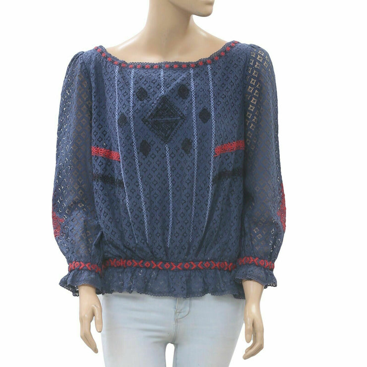 Hoss Intropia Anthropologie Floral Lace Embroidered Navy Blouse Top S