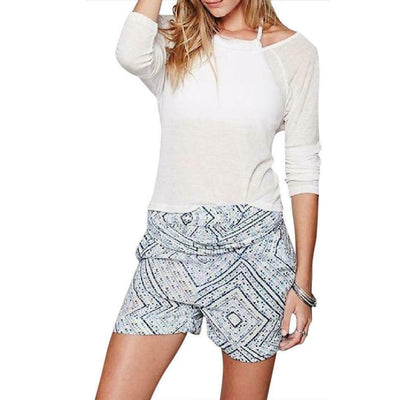 Free People Harem Printed High Rise Belted Bottoms Shorts