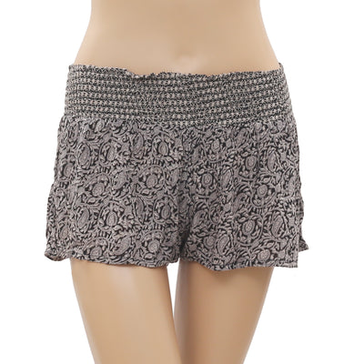 New Out From Under Paisley Printed Smocked Cropped Shorts Small S