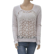 Abercrombie & Fitch New York Floral Crochet Blouse Top Sheer Cotton S