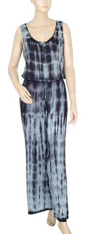 Elan Tie & Dye Printed Sleeveless Summer Jumpsuit Dress Large L
